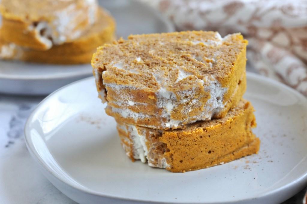 keto pumpkin swiss roll served