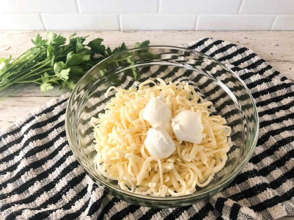 shredded mozzarella with cream cheese
