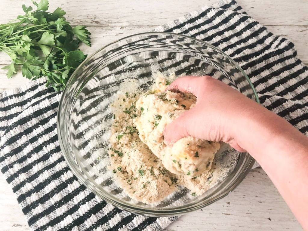 hand mixing keto breadstick dough