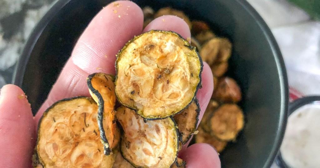 handful of keto zucchini chips