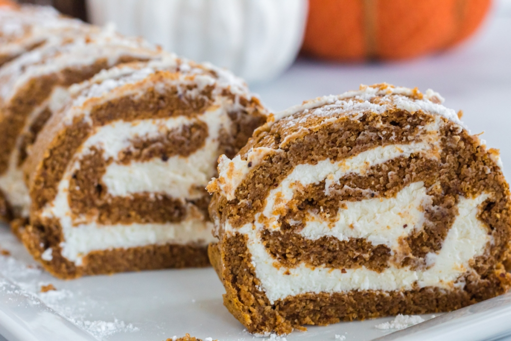 sliced pumpkin Swiss roll