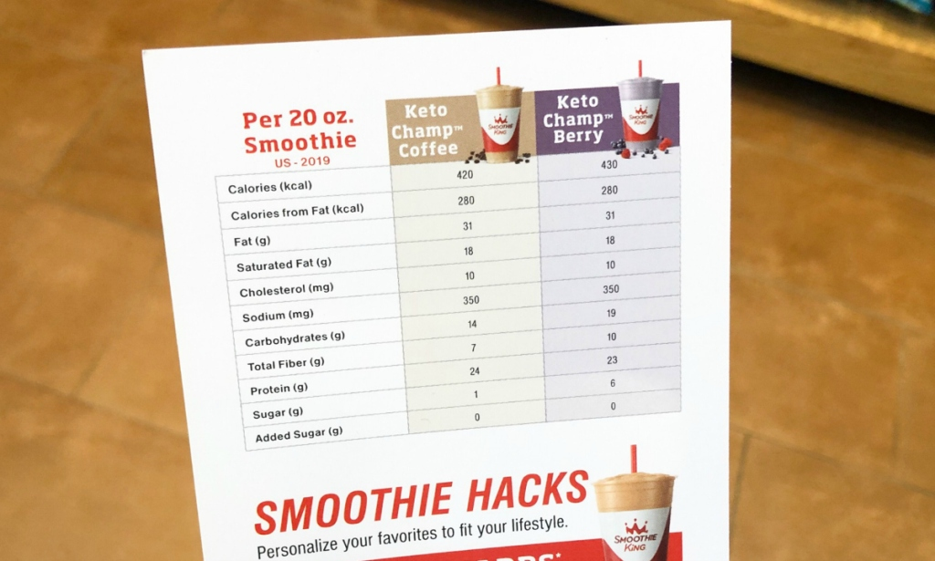 Smoothie King Keto smoothie nutrition