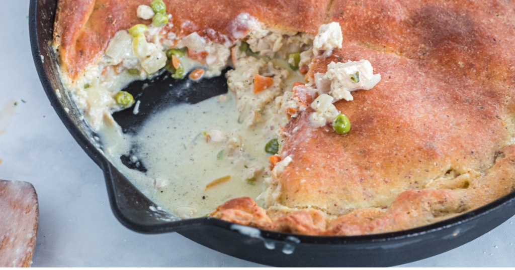 skillet of Chicken Pot Pie