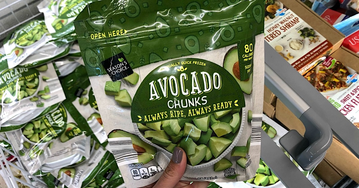 holding bag of frozen avocado chunks at ALDI