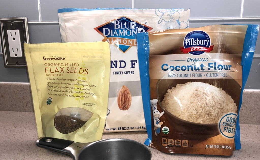 baking blend components of almond flour, coconut flour, and flax seeds