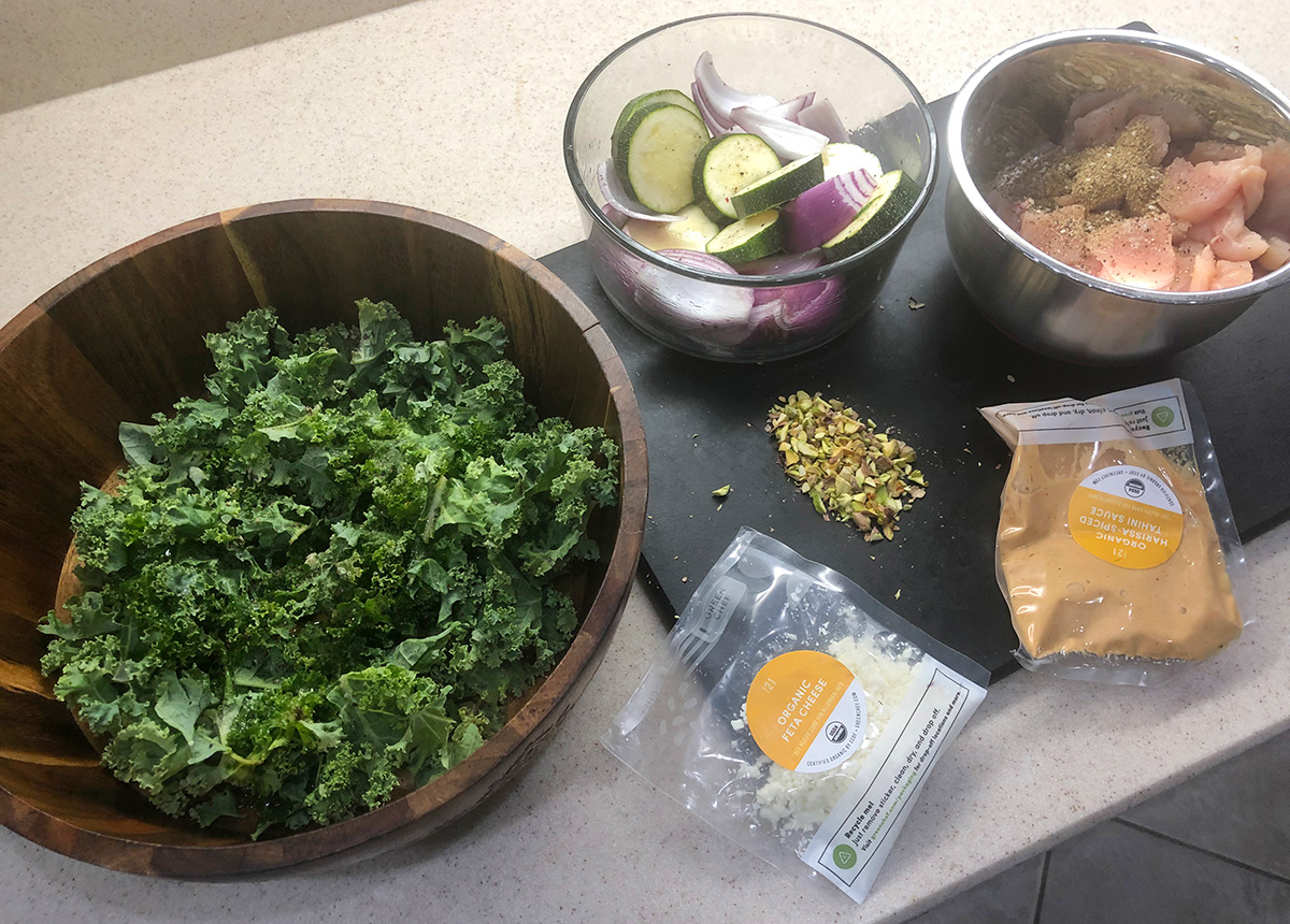 green chef ingredients laid out