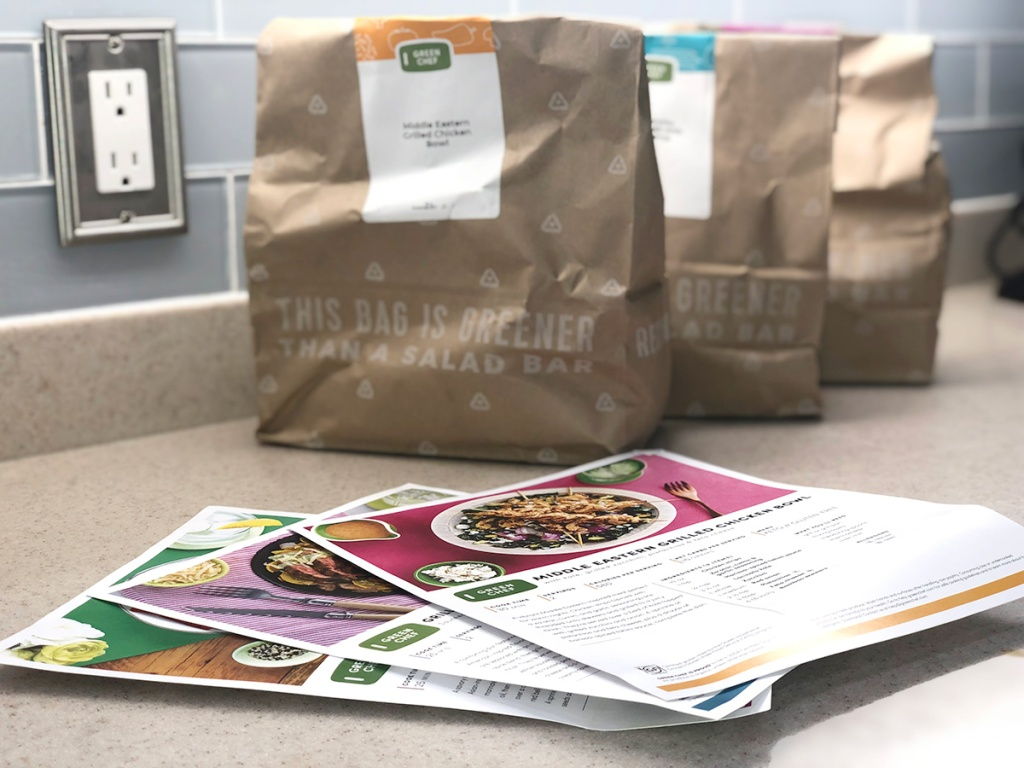 green chef recipe cards and bags of ingredients
