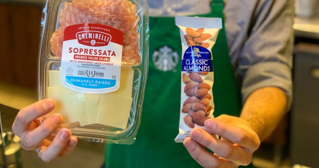 holding Starbucks keto snacks