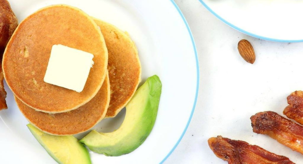 keto pancakes with butter and avocado