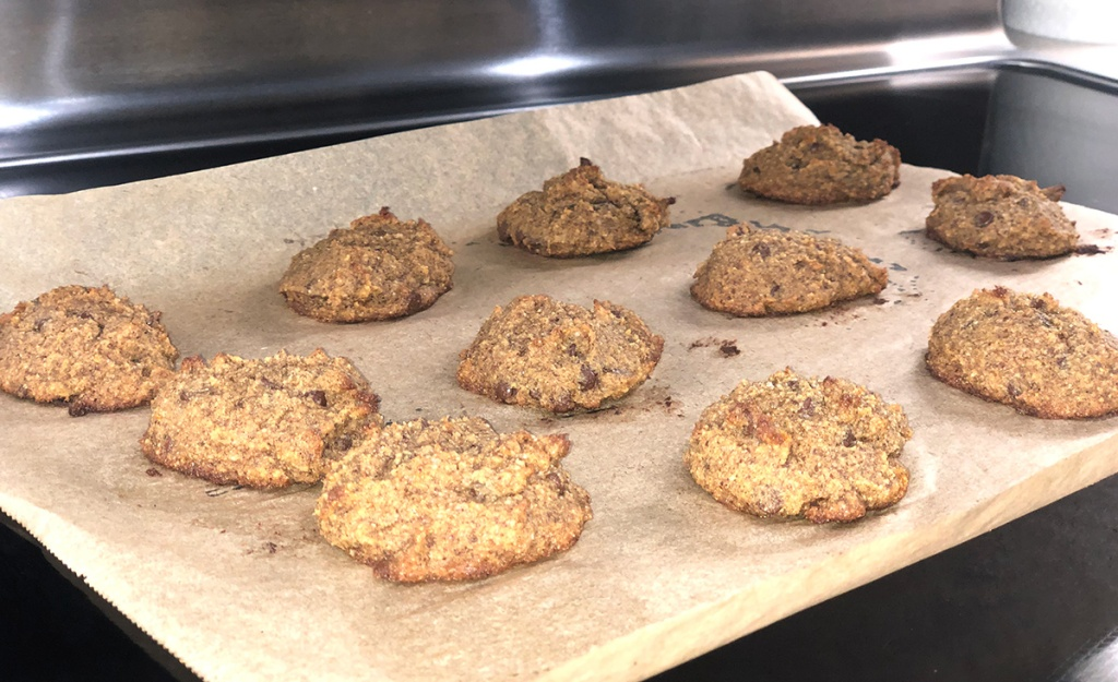 baked keto pumpkin cookies on tray