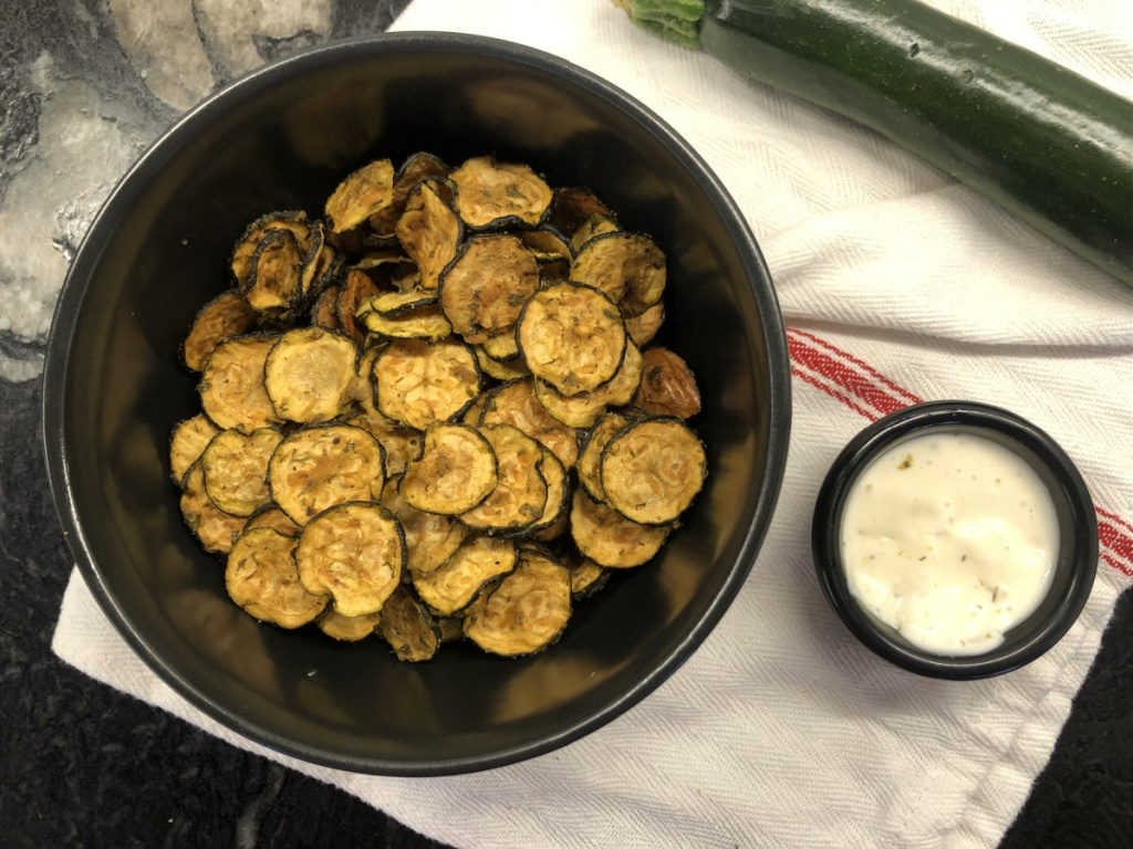 keto zucchini chips in a bowl