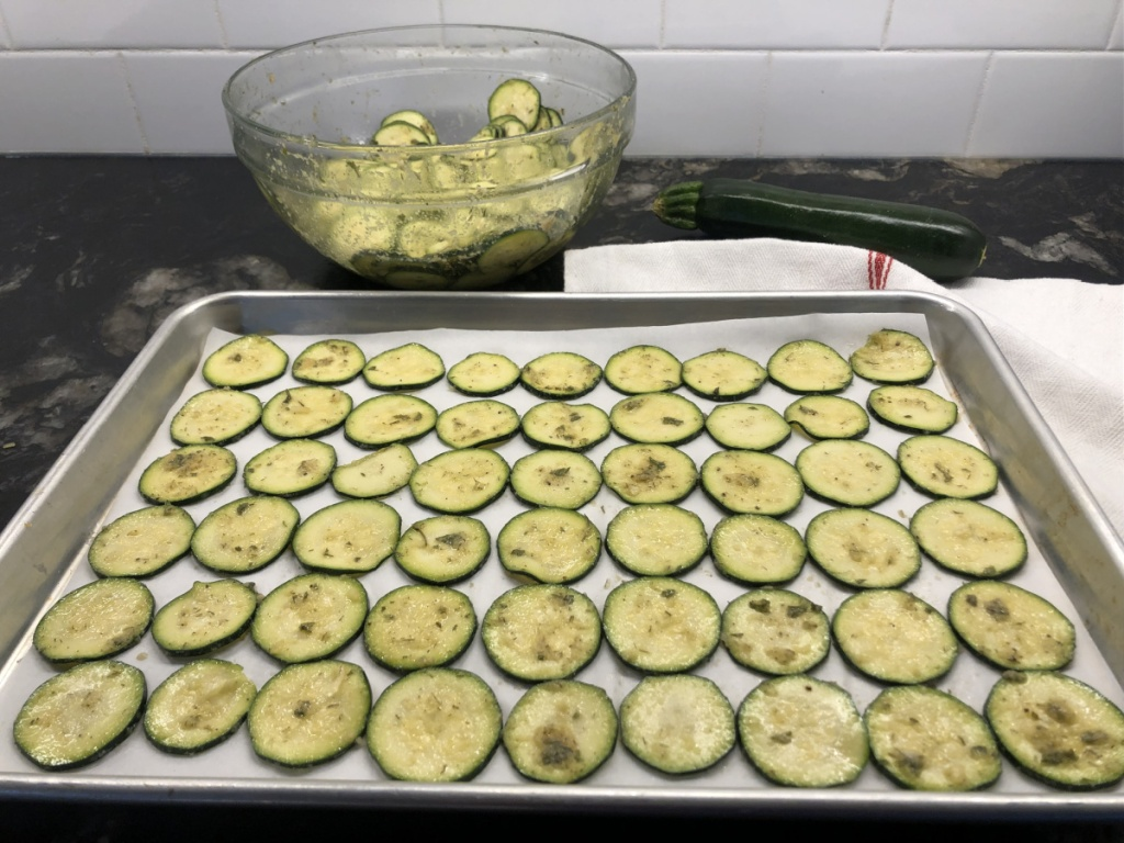 keto zucchini chips on baking sheet