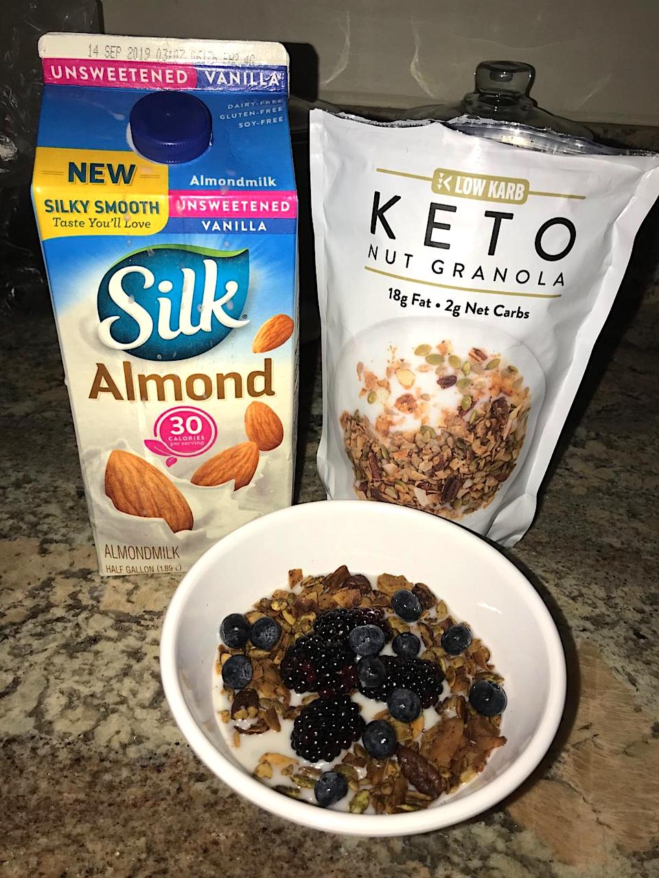 keto nut granola cereal with silk almondmilk