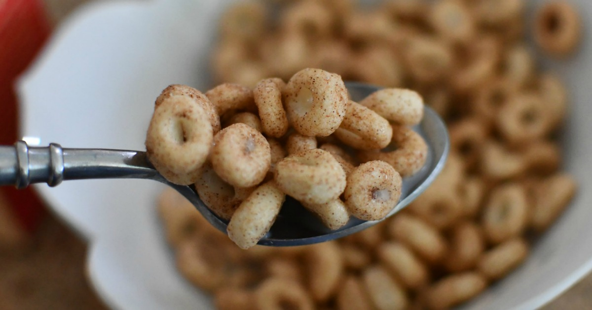 spoon of Catalina crunch cereal