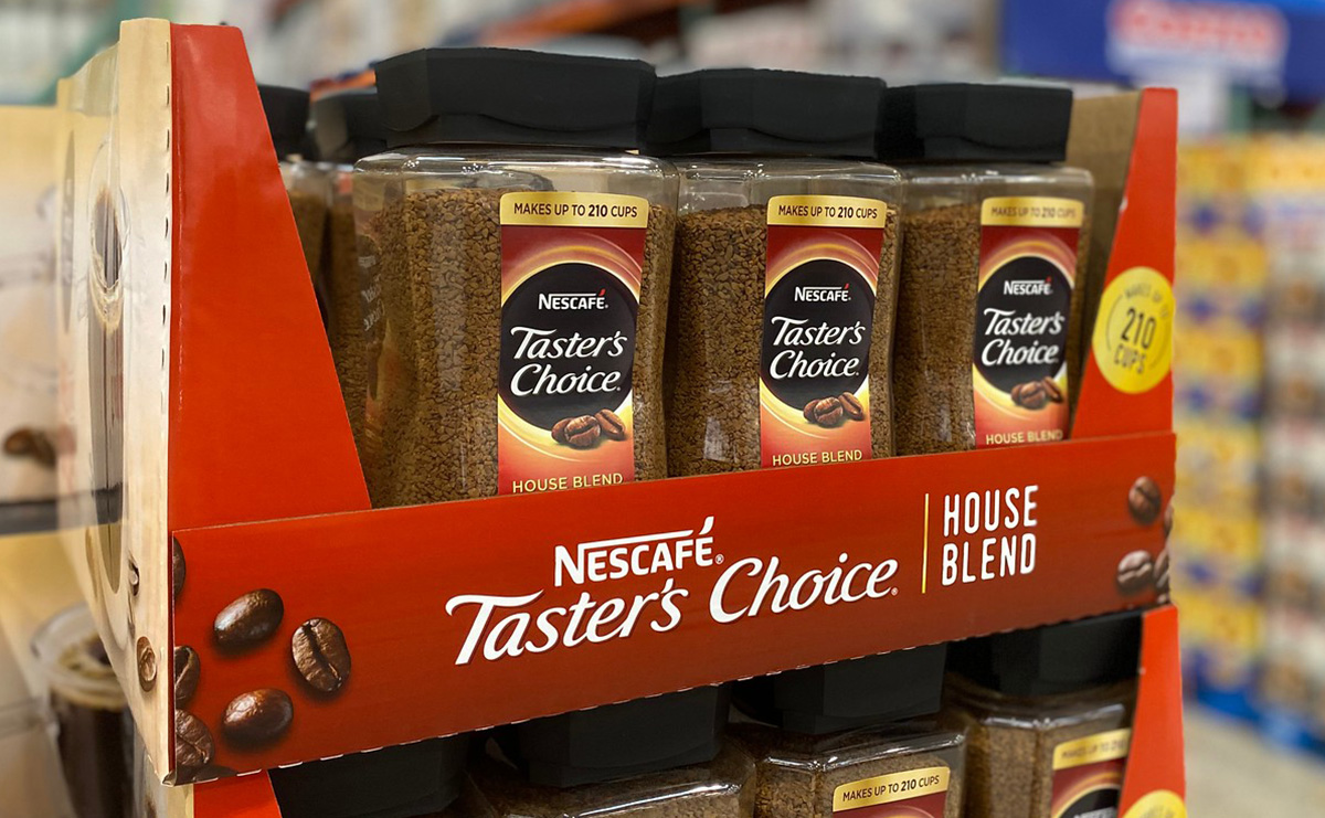 nescafe tasters choice coffee on display at costco
