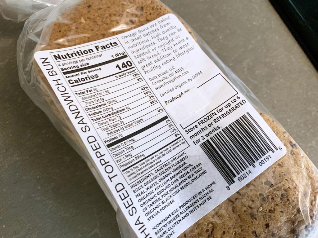 omega bun nutritional information