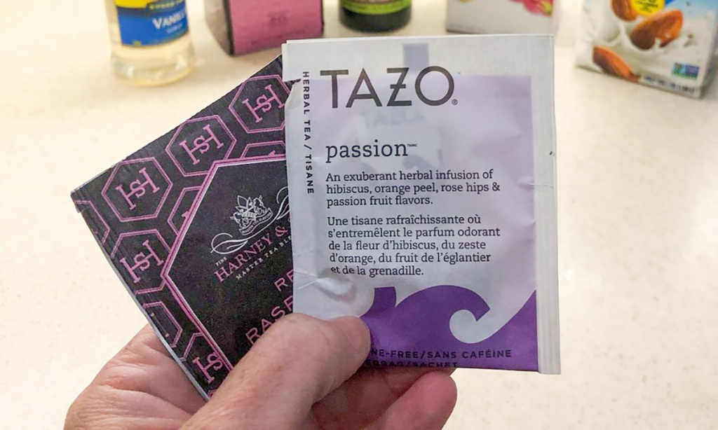 tazo passion tea and red raspberry tea packets