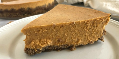 Keto Pumpkin Cheesecake with a Pecan Crust