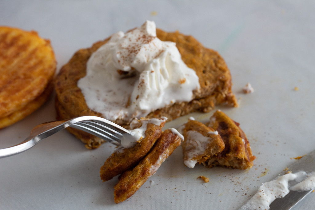 keto pumpkin chaffle with whipped cream