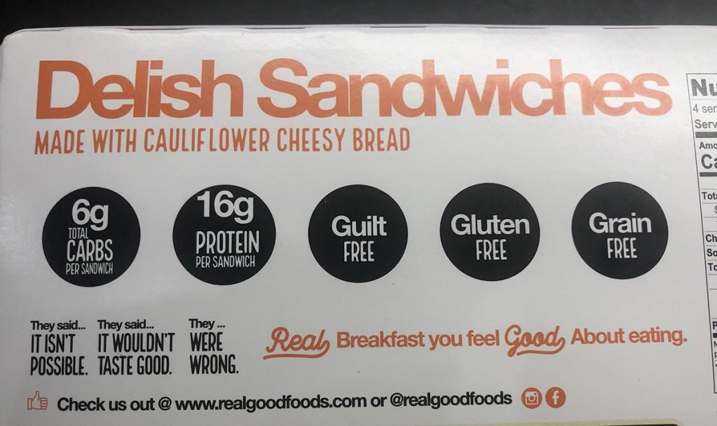realgood foods cauliflower cheese bread breakfast sandwich box