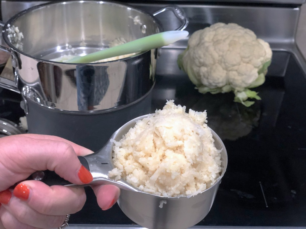 cup of riced cauliflower
