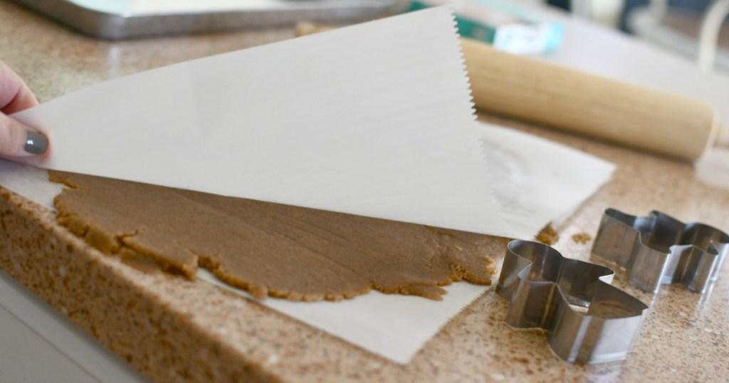 rolling keto gingerbread dough