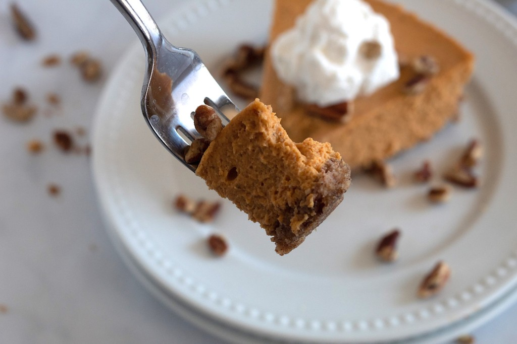 keto pumpkin cheesecake on fork