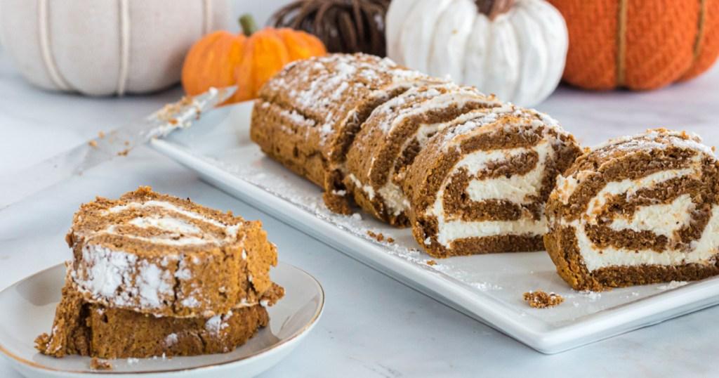keto pumpkin swiss roll sliced up