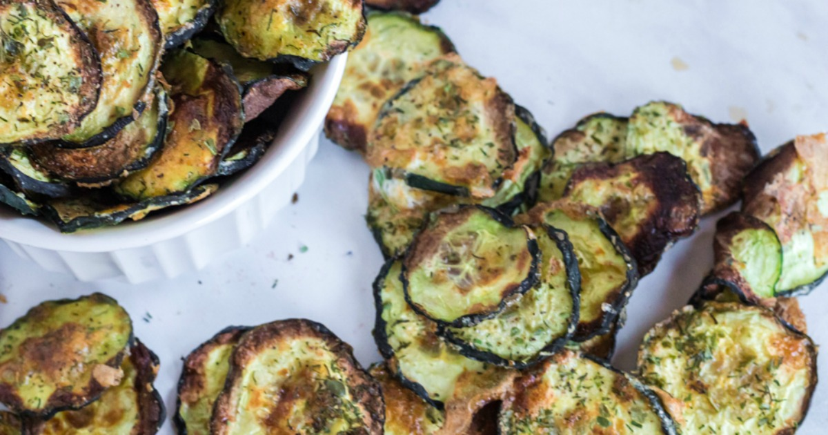 keto zucchini chips arranged on a platter