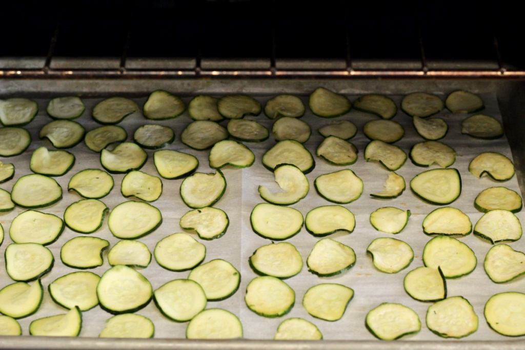 sliced zucchini on a baking sheet