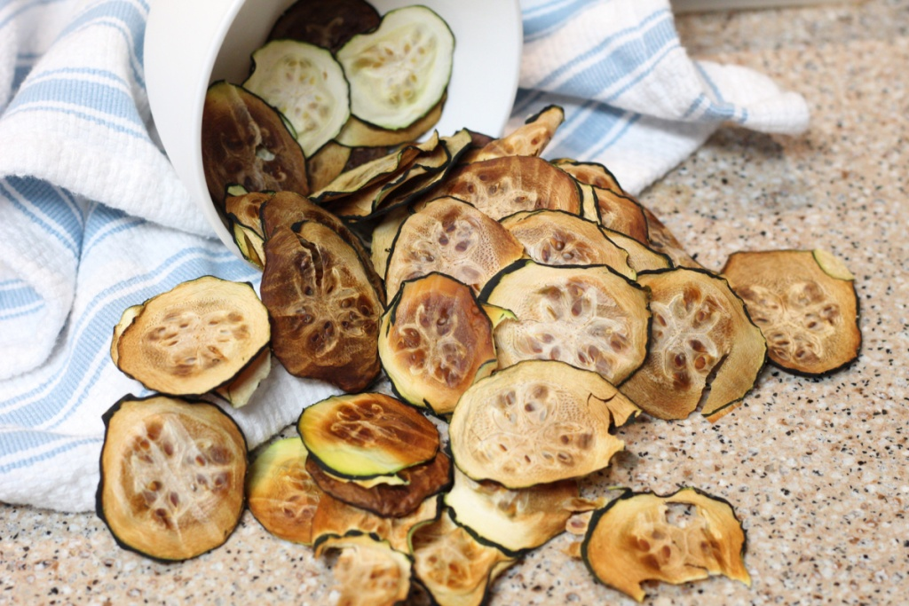 zucchini chips on the counter