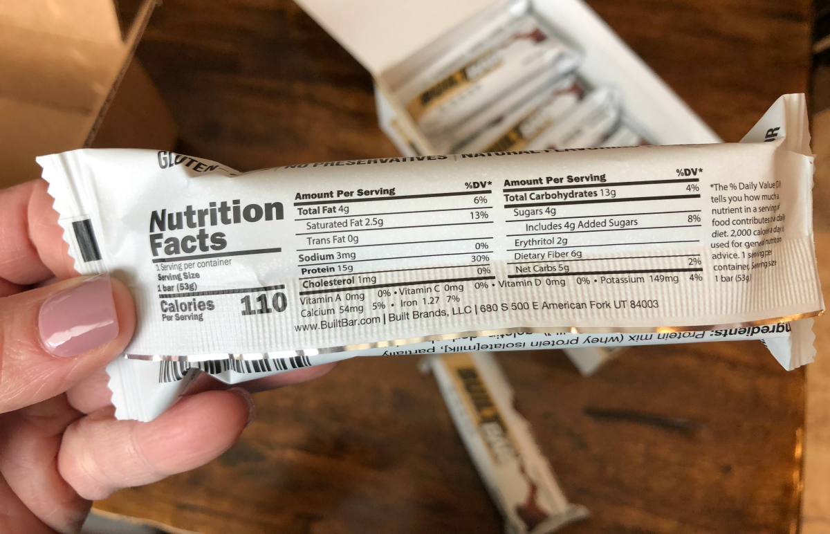 Built Bar nutrition label