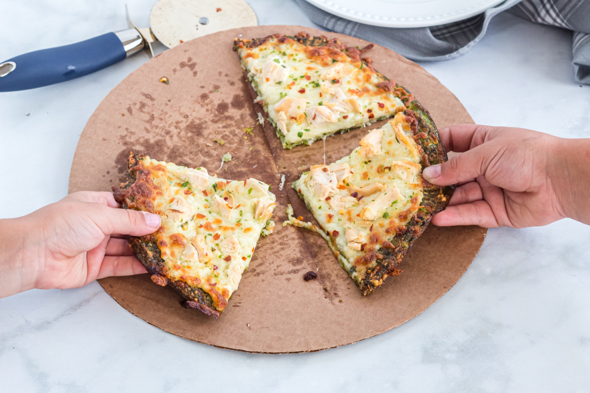 pizza with a keto broccoli crust
