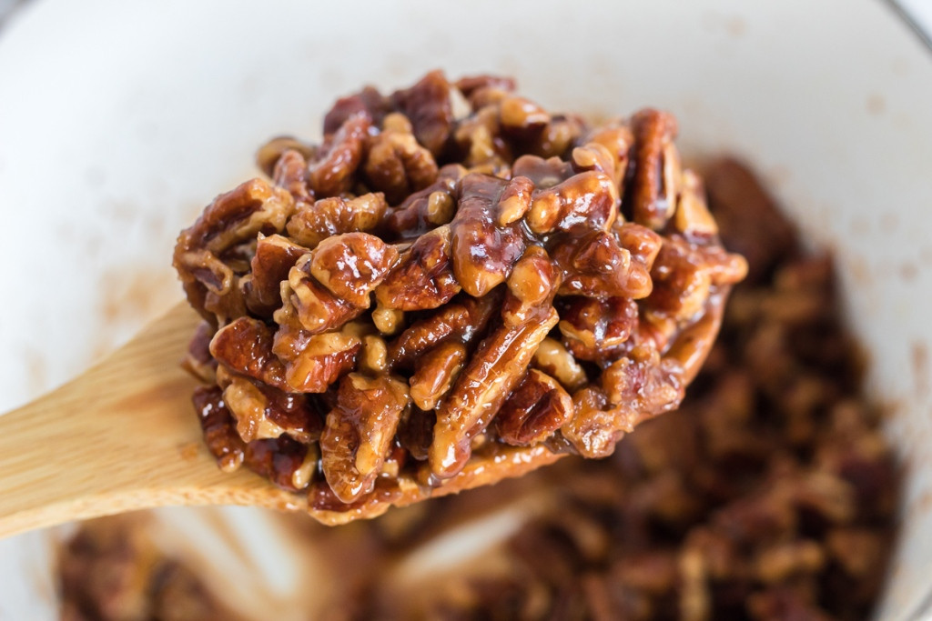 spoonful of caramelized pecans