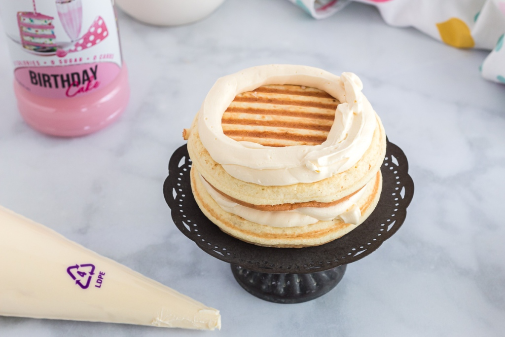 cake chaffle with icing layer