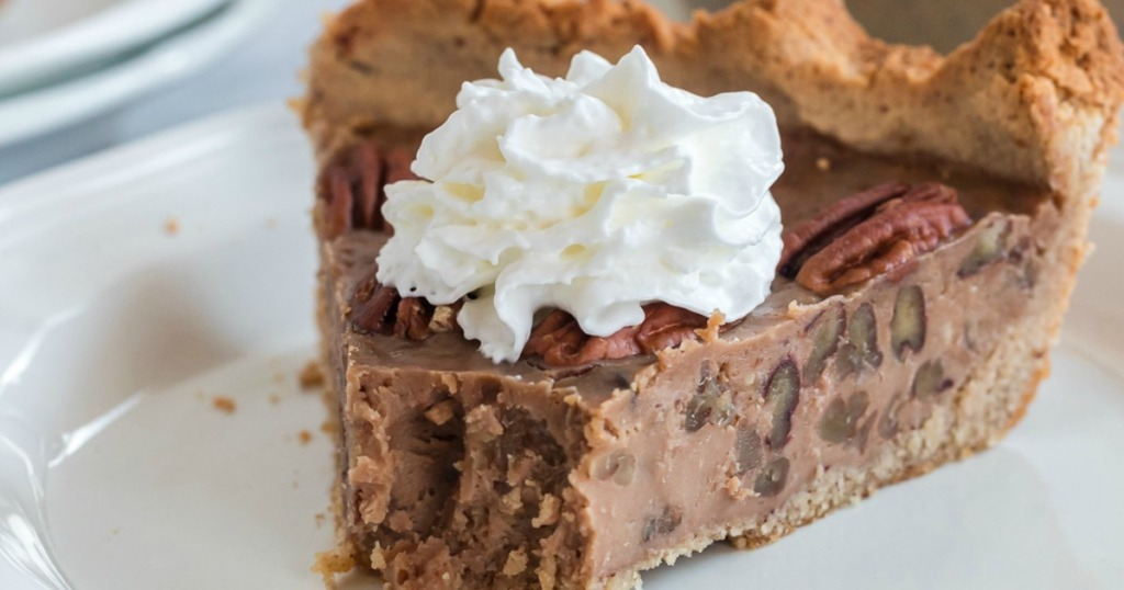 keto pecan pie with whipped cream