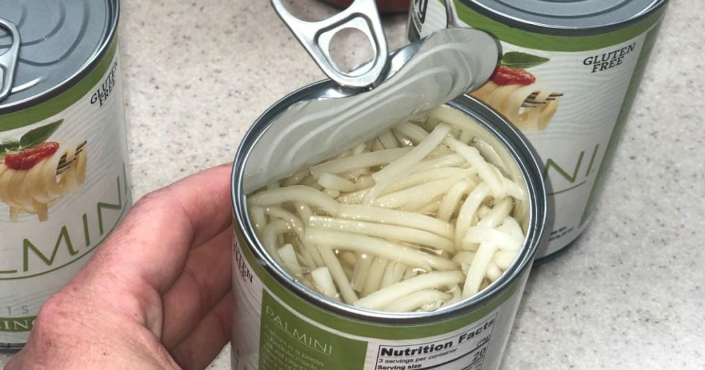 Palmini pasta can open