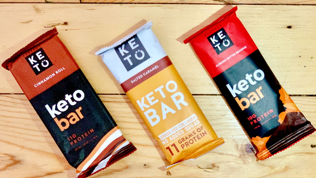 Perfect Keto protein bars on display