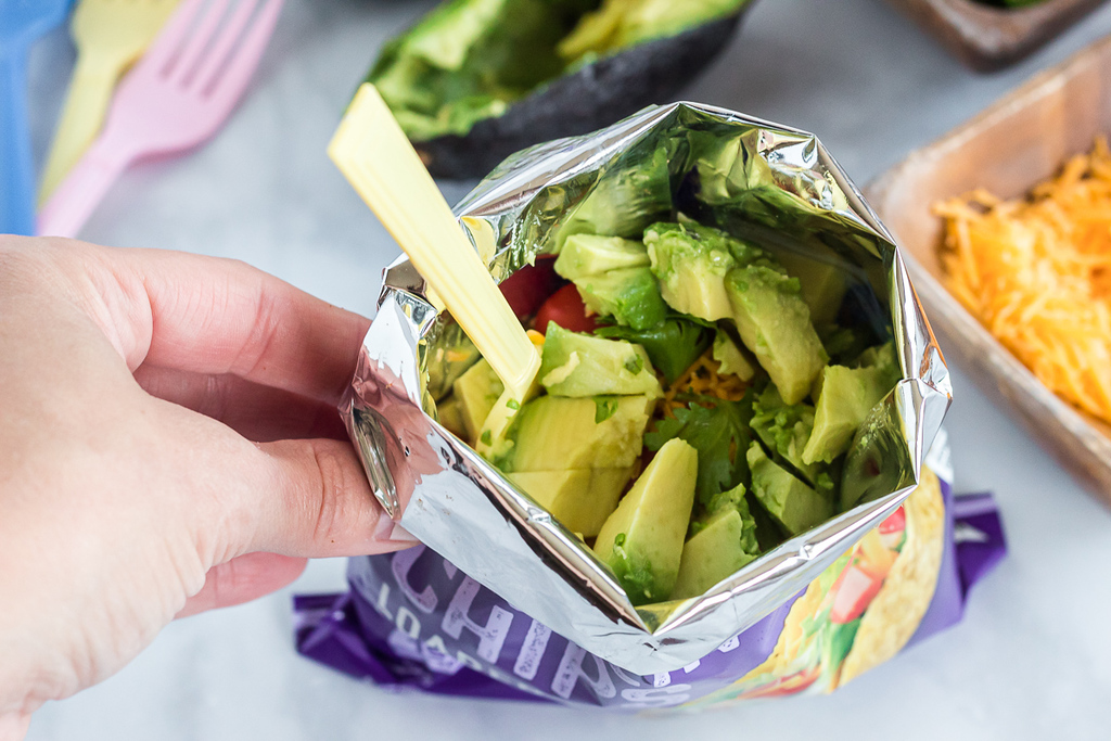 Quest chips bag filled with avocados