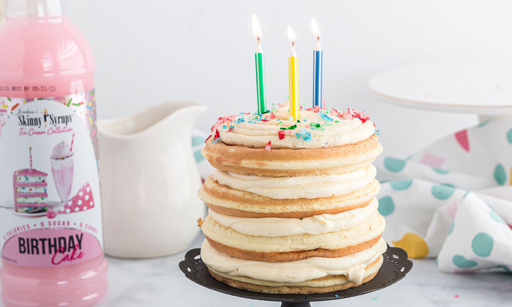 Keto chaffle birthday cake with candle lit