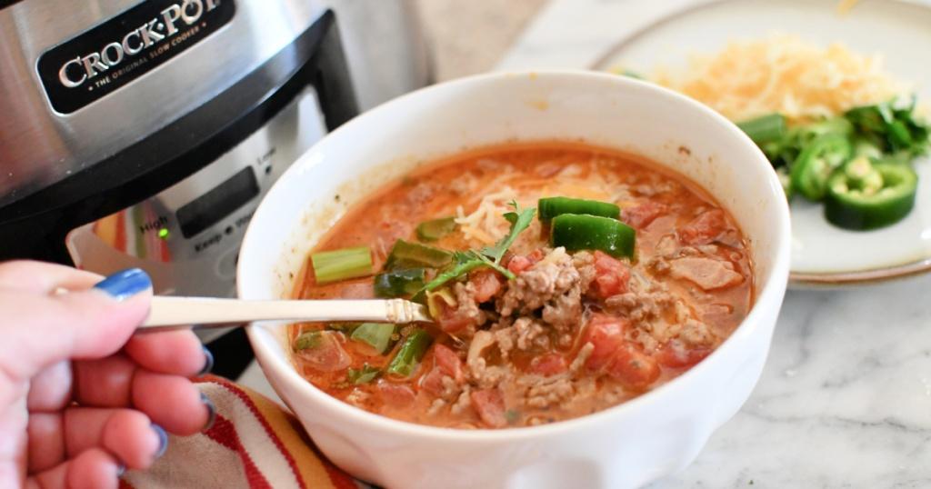 bowl of slow cooker keto taco soup