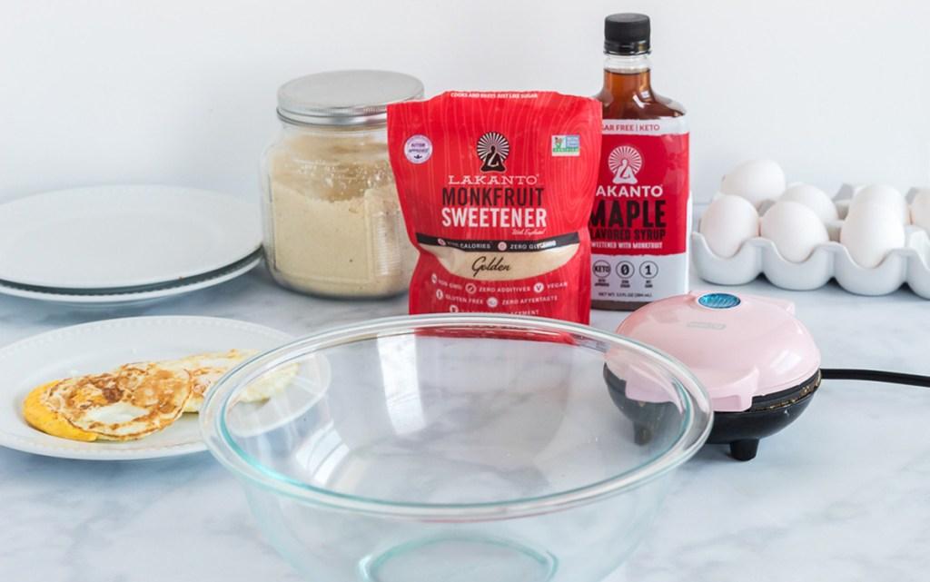 breakfast sandwich ingredients on counter