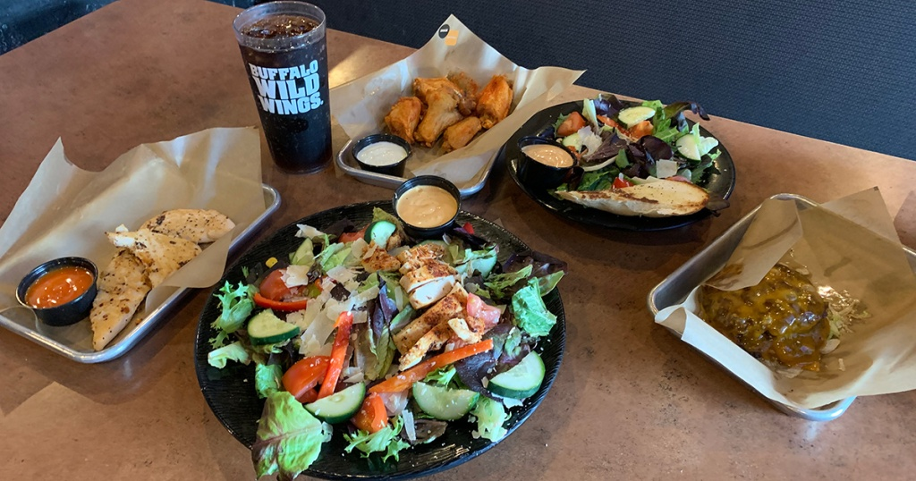 Table full of food at Buffalo Wild Wings