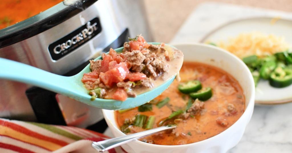 dishing up keto taco soup