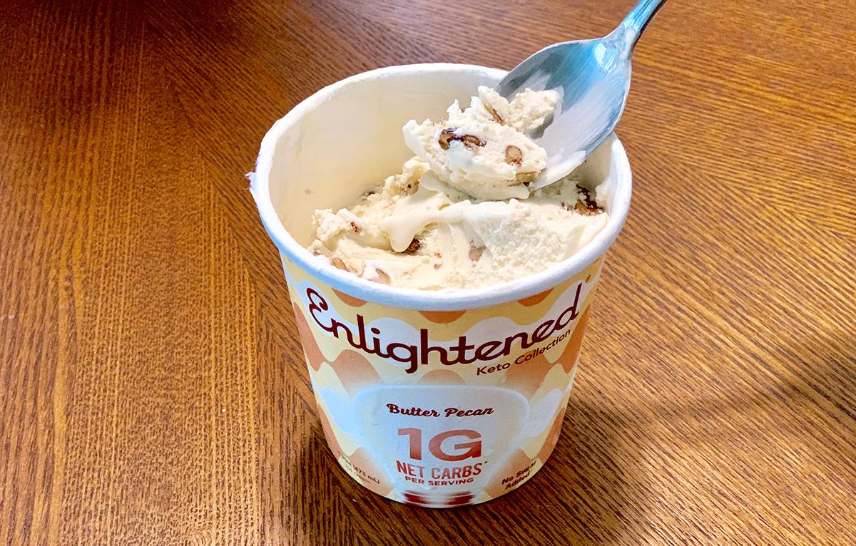 Enlightened ice cream pint with spoon