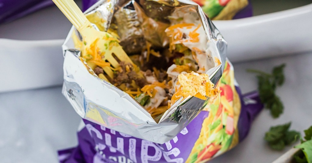 fork inside Quest chips walking taco bag