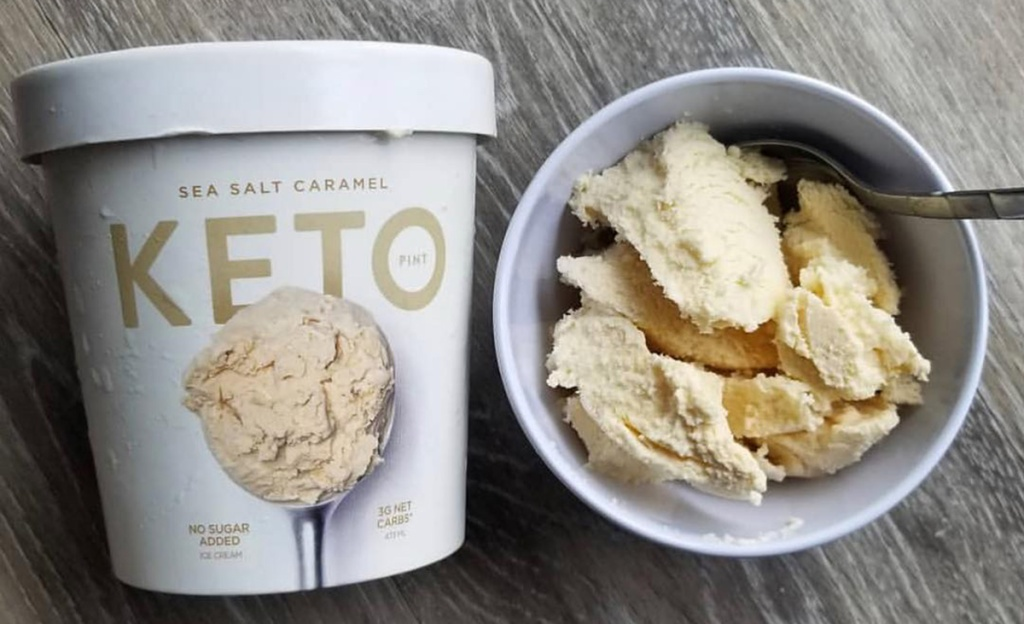 keto pint ice cream in container and bowl