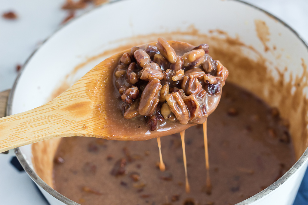 keto pecans in maple butter sauce