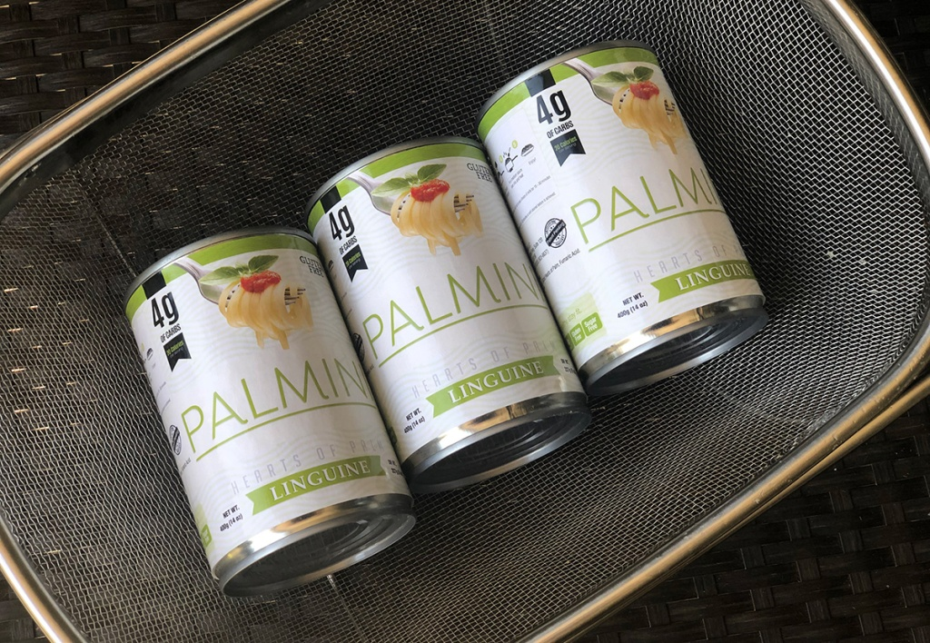Cans of Palmini hearts of palm pasta