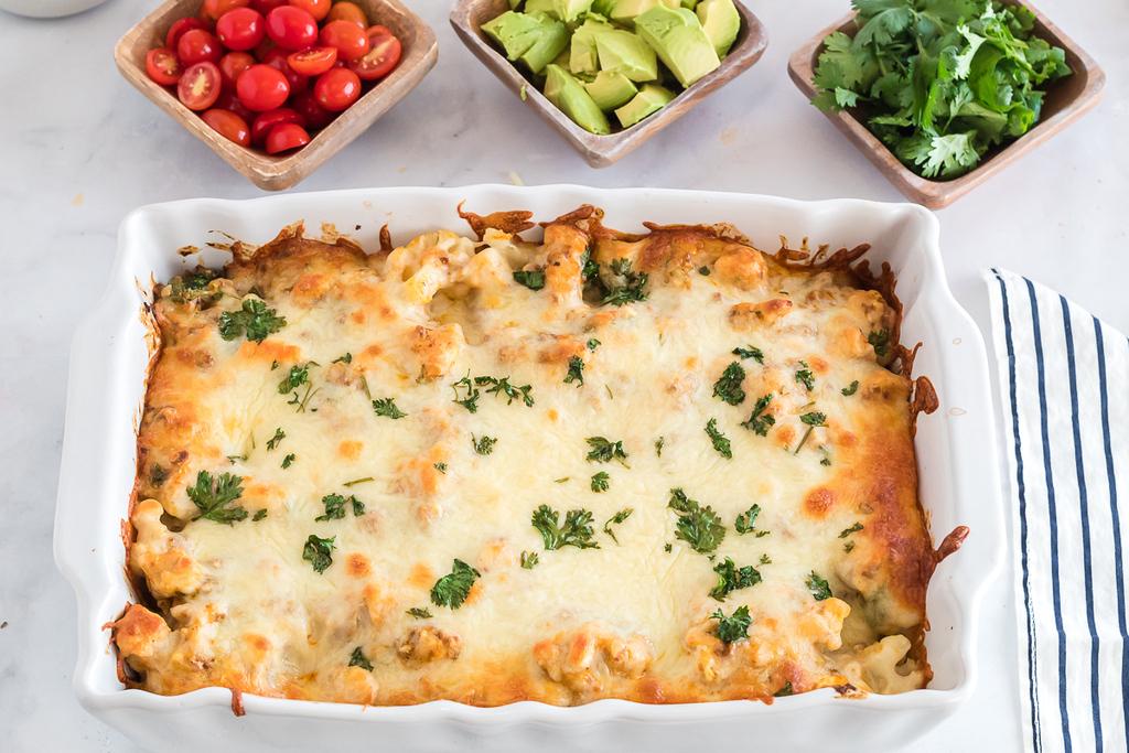 salsa verde keto cauliflower casserole
